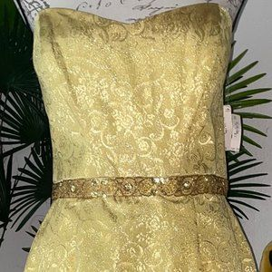 Night Way Gold Evening Gown